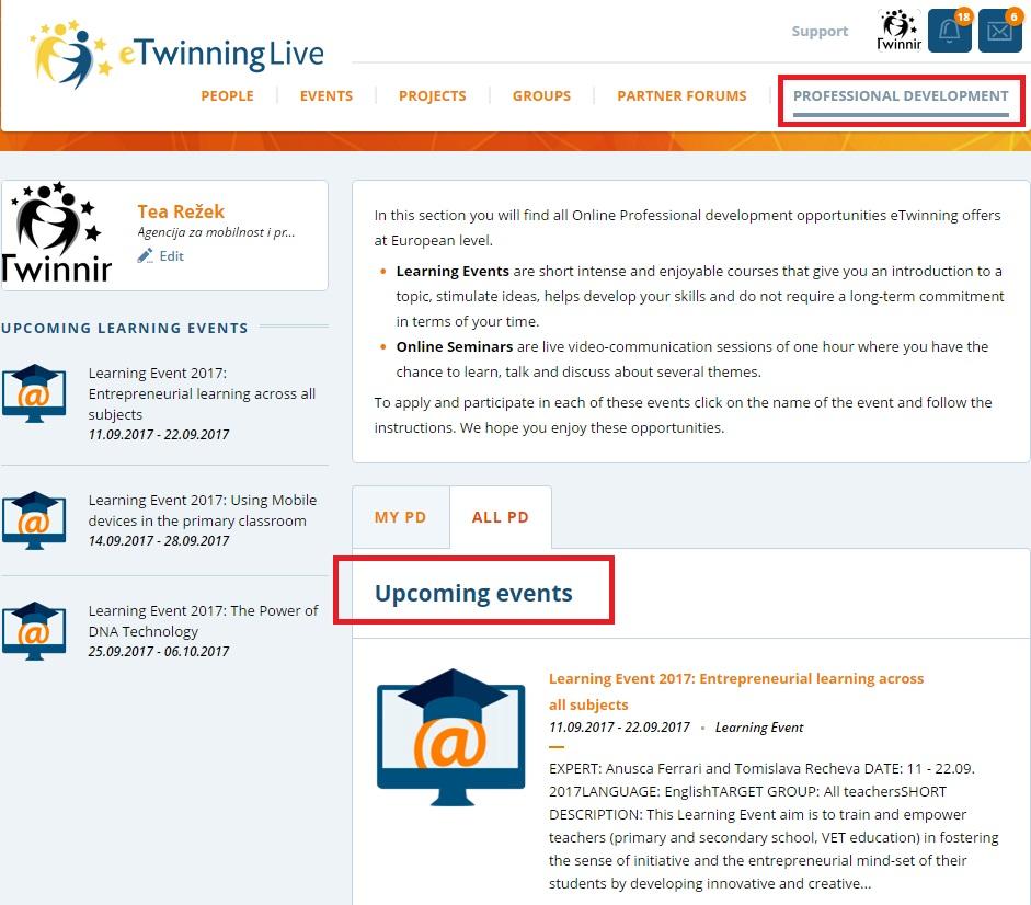eTwinning Live korisnički portal