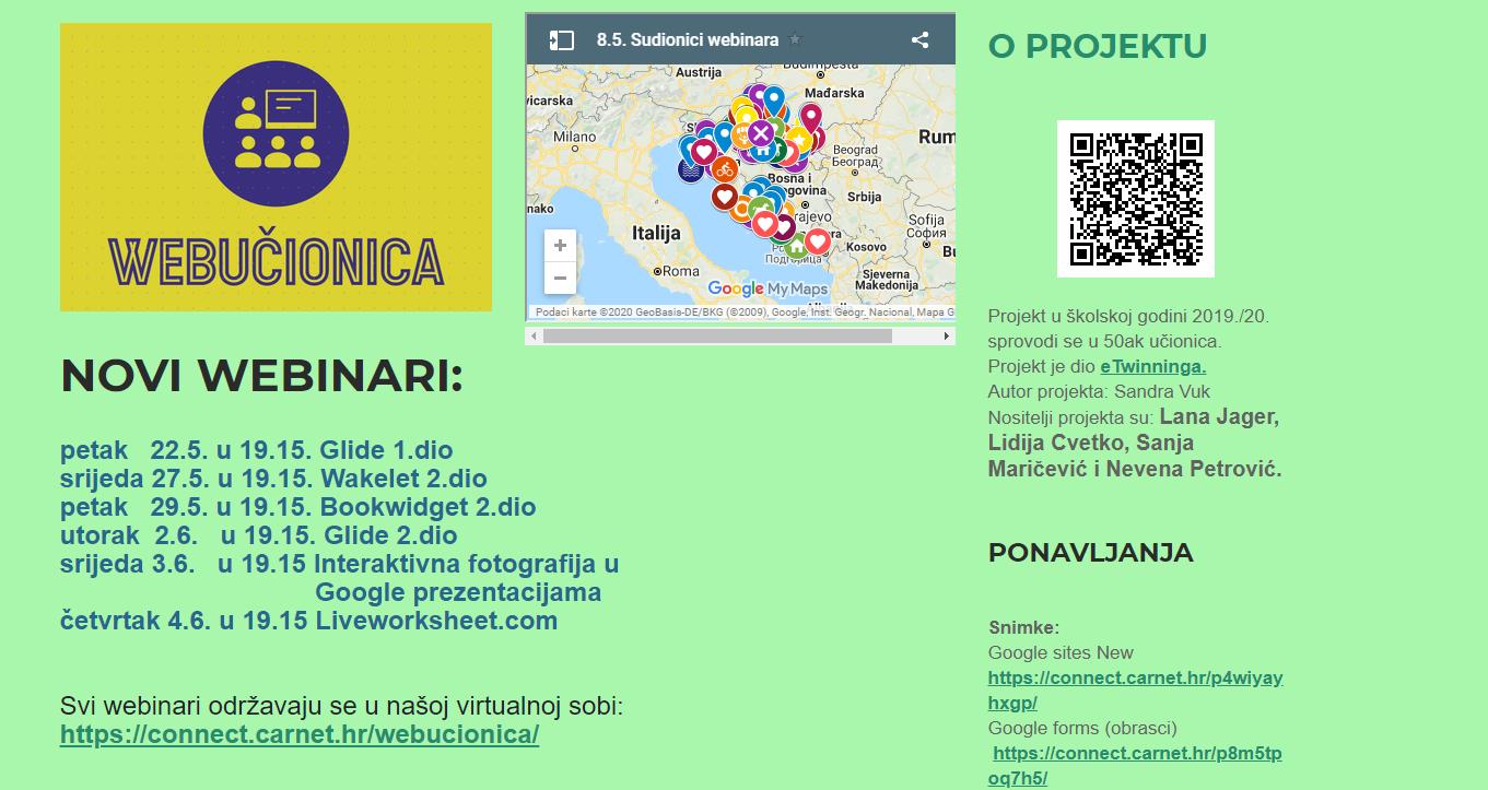 Plan webinara u sklopu projekta Webučionica