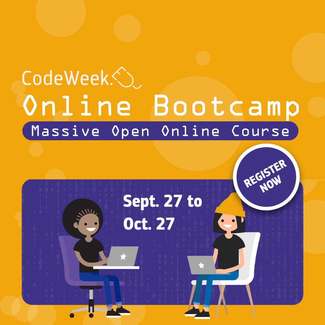 Online tečajEU Code Week Online Bootcamp počinje 27. rujna 2021. - Slika